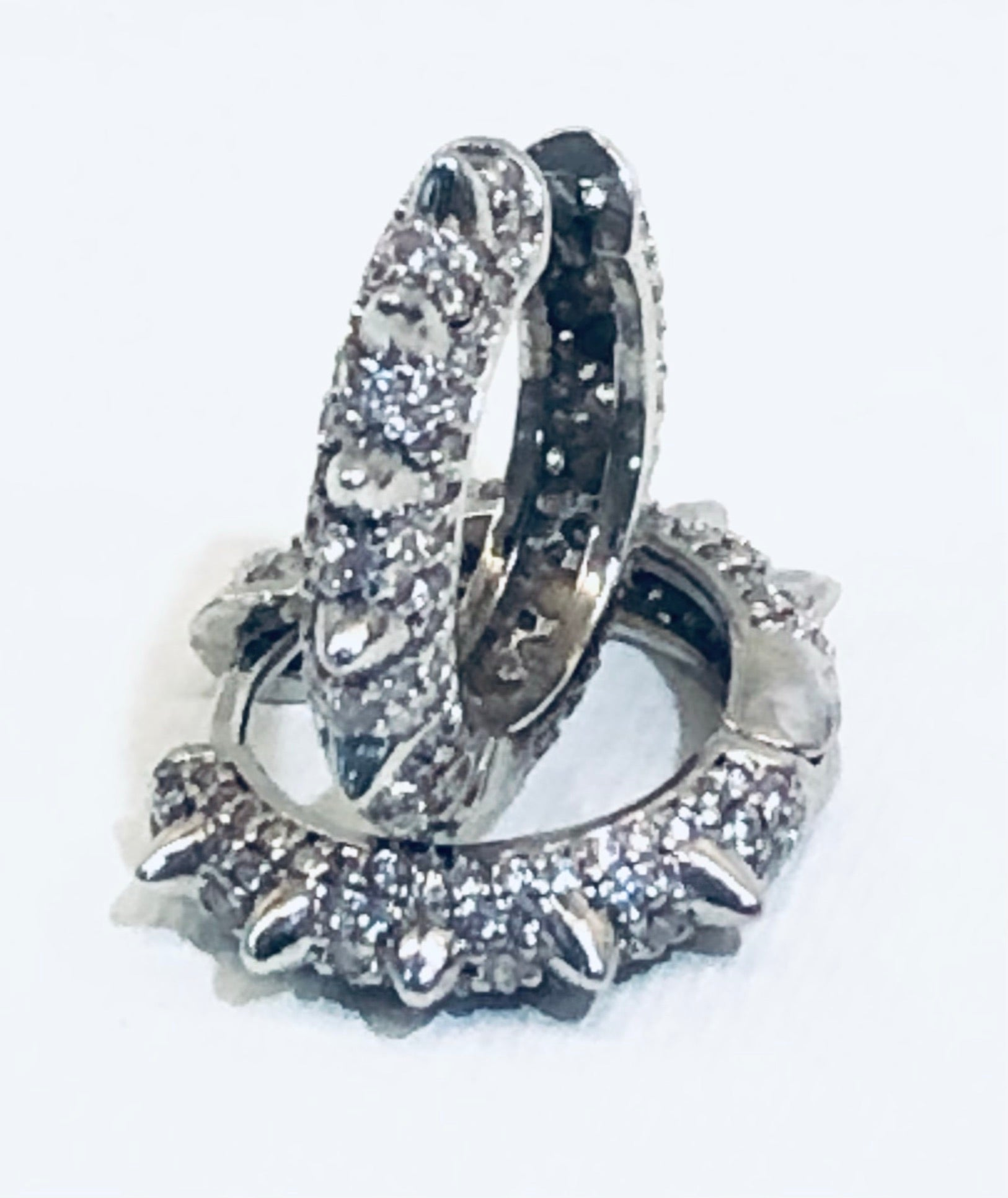 CZ Jeweled Studded Silver Huggie Earrings 3/4""