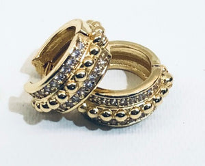 CZ Jeweled & Gold Bead Huggie Earrings 3/4""