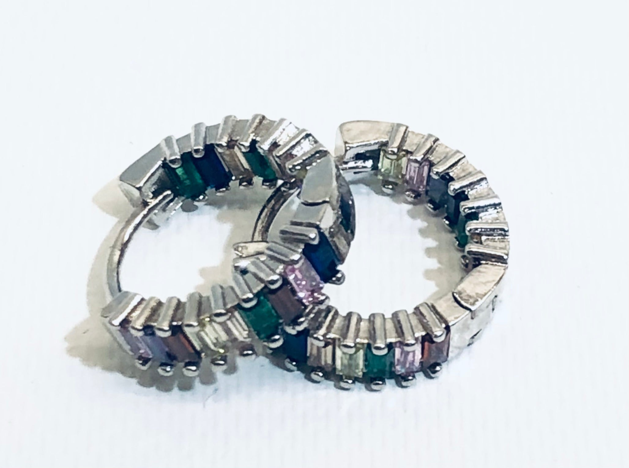 Multi Colored CZ Jeweled Silver Huggie Earrings 1/2""