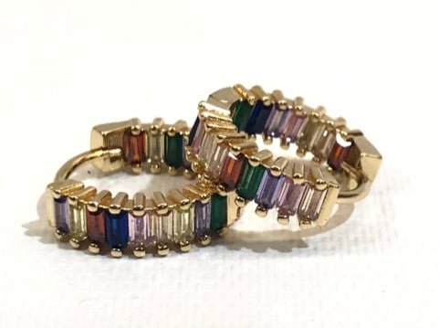 Multi Colored CZ Jeweled Gold Huggie Earrings 1/2""