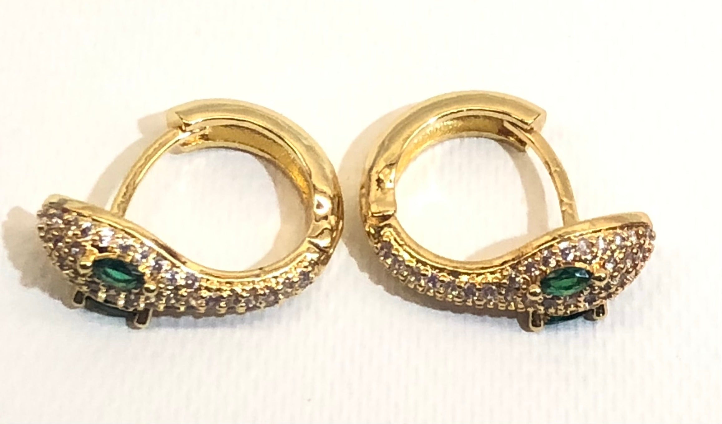 Green CZ Jeweled Eyes Gold Snake Huggie Earrings 1/2""