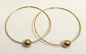 "2 1/2"" Gold Filled Hoop Earring with 10mm Gold Bead"