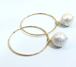 1 1/2 Gold Filled Hoop Earring with 1/2 Fresh Water Pearl Earrings