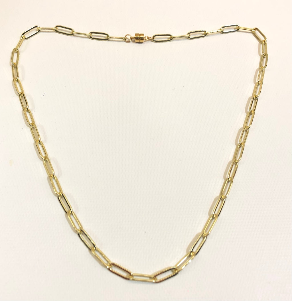 18 Inch Gold Filled Paper Clip Necklace