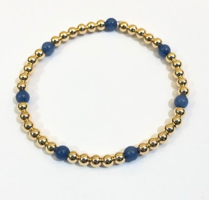 4mm 14k Gold Filled Bead Bracelet with Denim Blue Jade