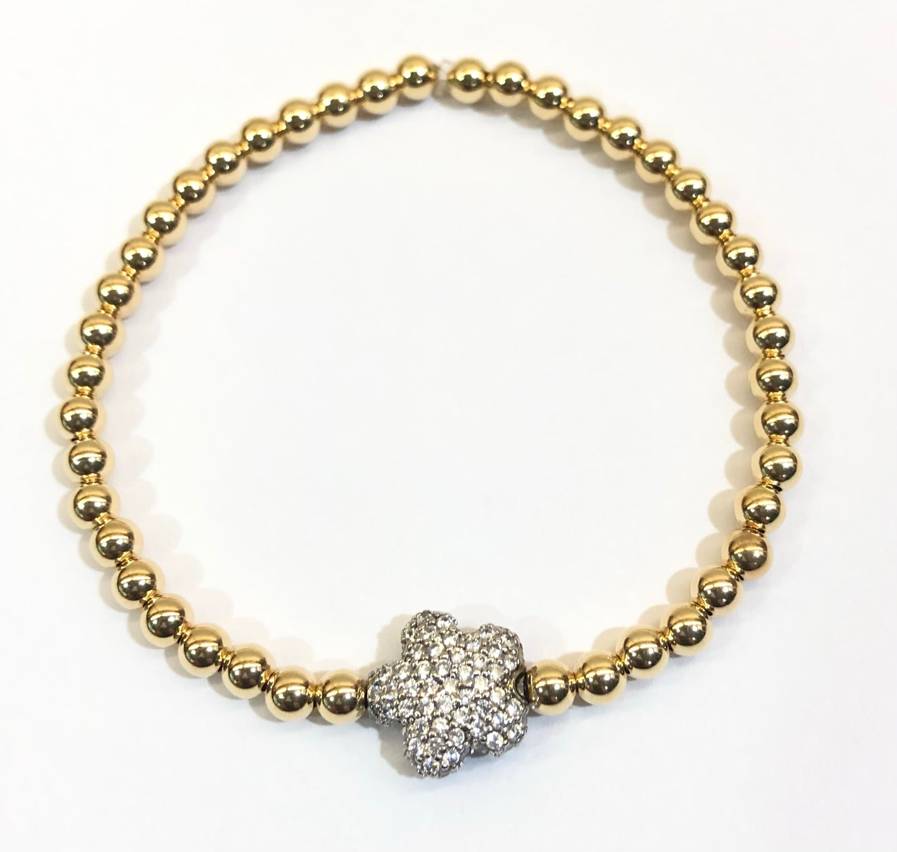 4mm 14k Gold Filled Bead Bracelet with CZ Jeweled Flower