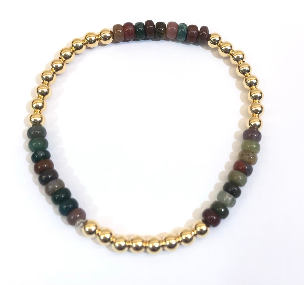 4mm 14k Gold Filled Bead Bracelet with Colorful Jasper
