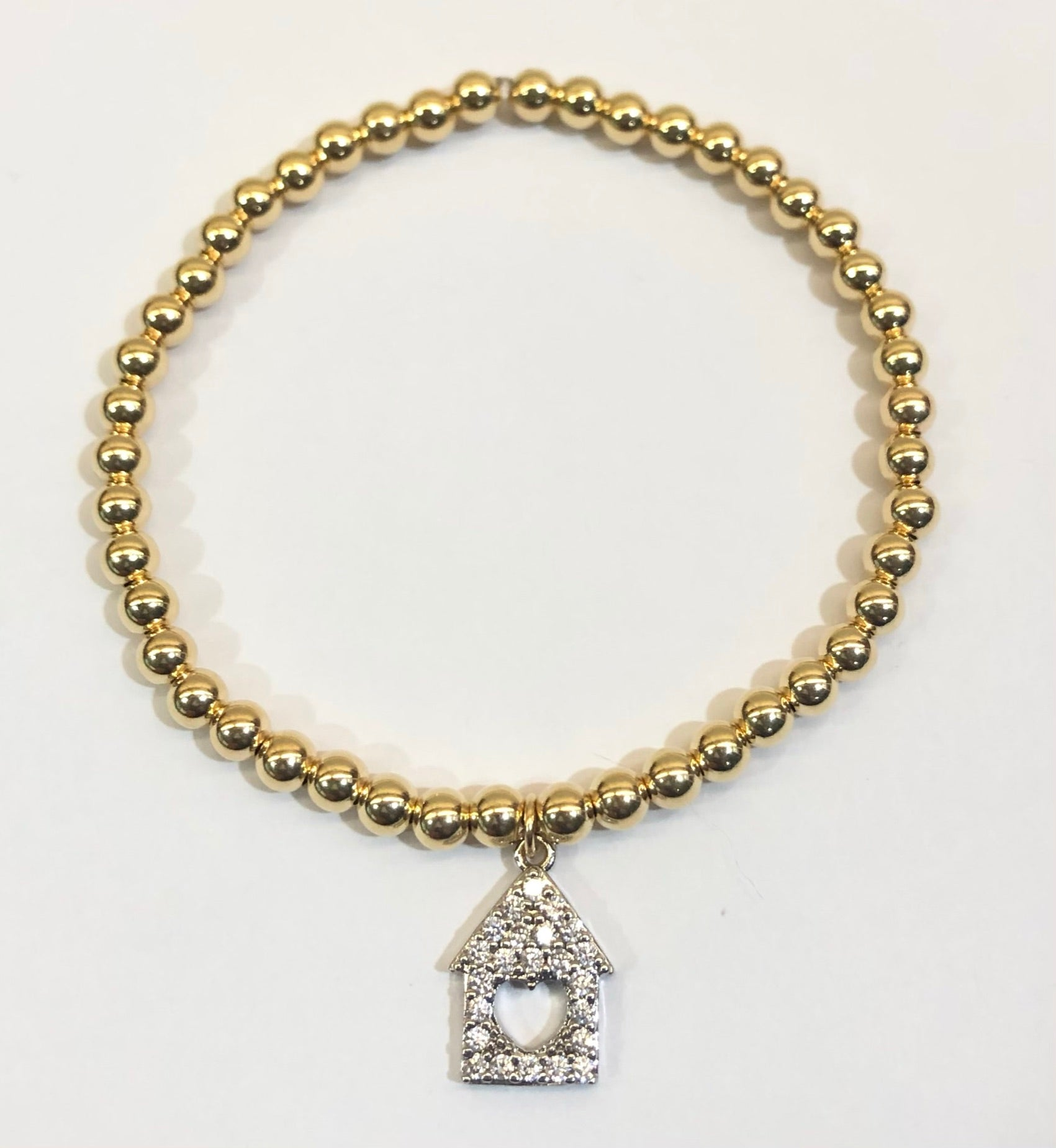 4mm 14k Gold Filled Bead Bracelet CZ Jeweled House with Heart Cutout