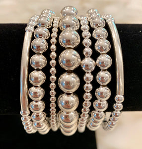 REILLY 7 Piece Sterling Silver Bead Bracelet Stack