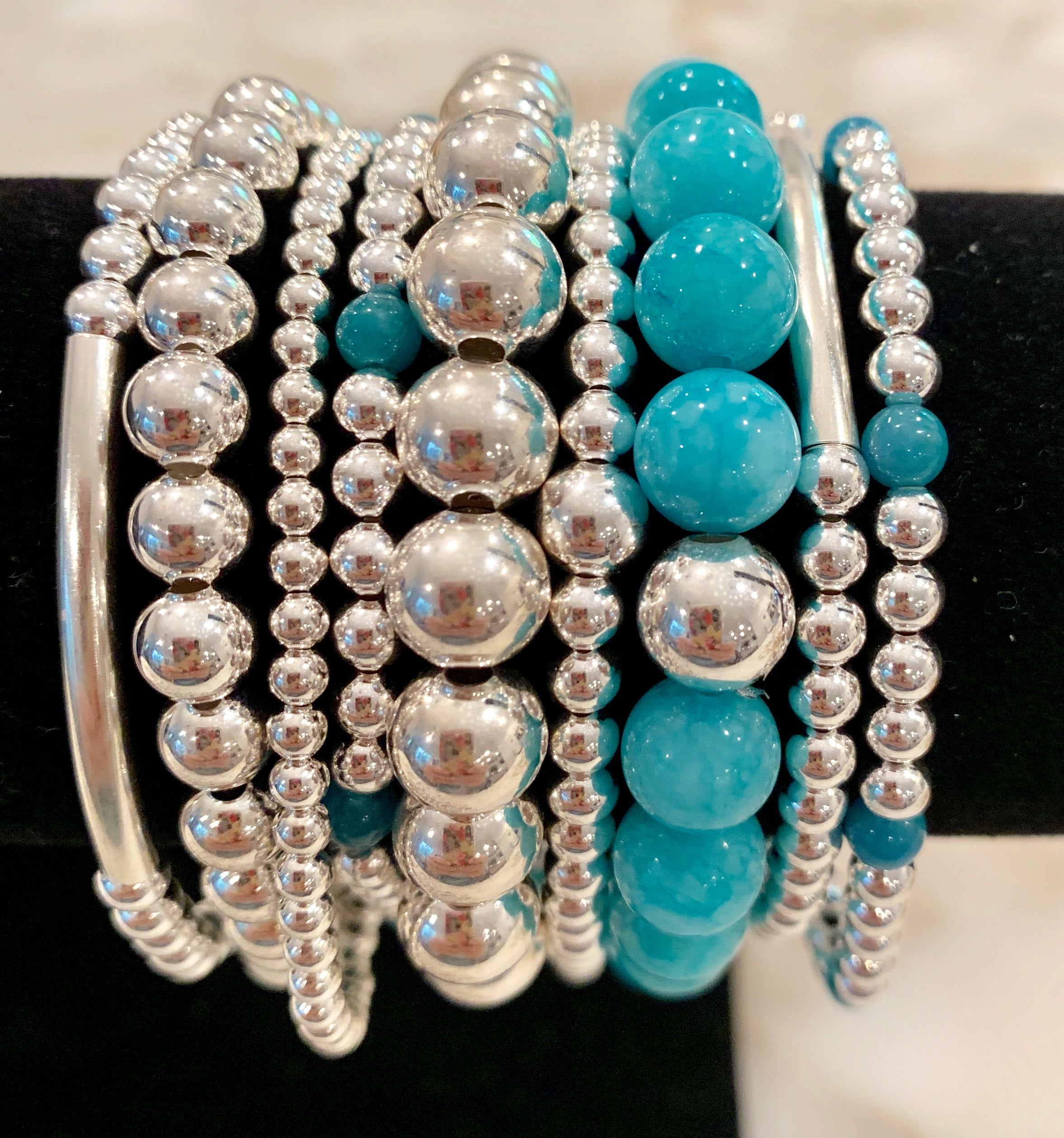 COPEY 8 Piece Sterling Silver Bead Bracelet Stack with Bright Blue Jade Stones
