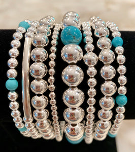 JULIANNA 8 Piece Sterling Silver Bead Bracelet Stack with Turquoise Stones