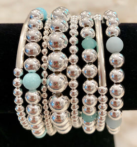 MUFFY 8 Piece Sterling Silver Bead Bracelet Stack with Pale Turquoise, Green Opal and Matte Aquamarine Stones