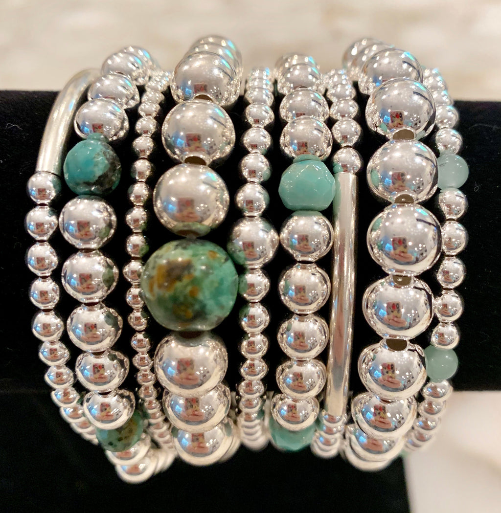 BETH 9 Piece Sterling Silver Bead Bracelet Stack with Africa Turquoise, Green Opal and Pale Green Jade