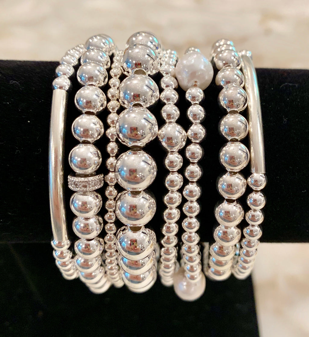 EMMA 8 Piece Sterling Silver Bead Bracelet Stack with CZ Spacer and Fresh Water Pearls