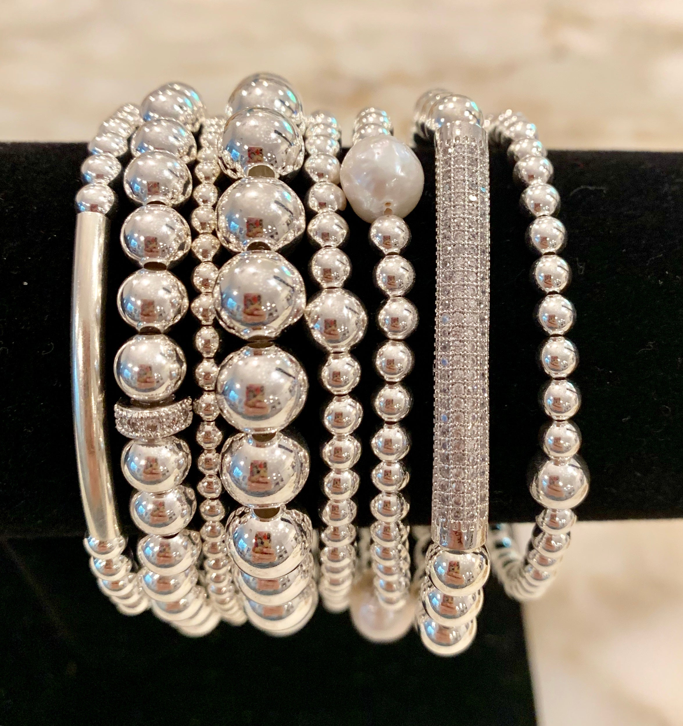 KERRIN 8 Piece Sterling Silver Bead Bracelet Stack with CZ Spacer, Fresh Water Pearls and CZ Bling Bar