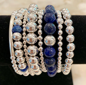 JOAN 8 Piece Sterling Silver Bead Bracelet Stack with Lapis Stones