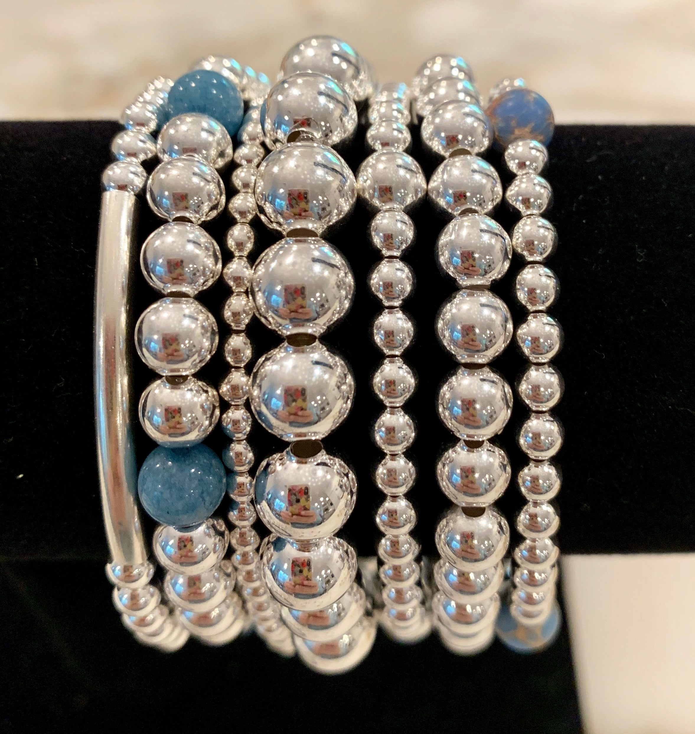 CALLIE 7 Piece Sterling Silver Bead Bracelet Stack with Pale Blue Jade and Japser Stones