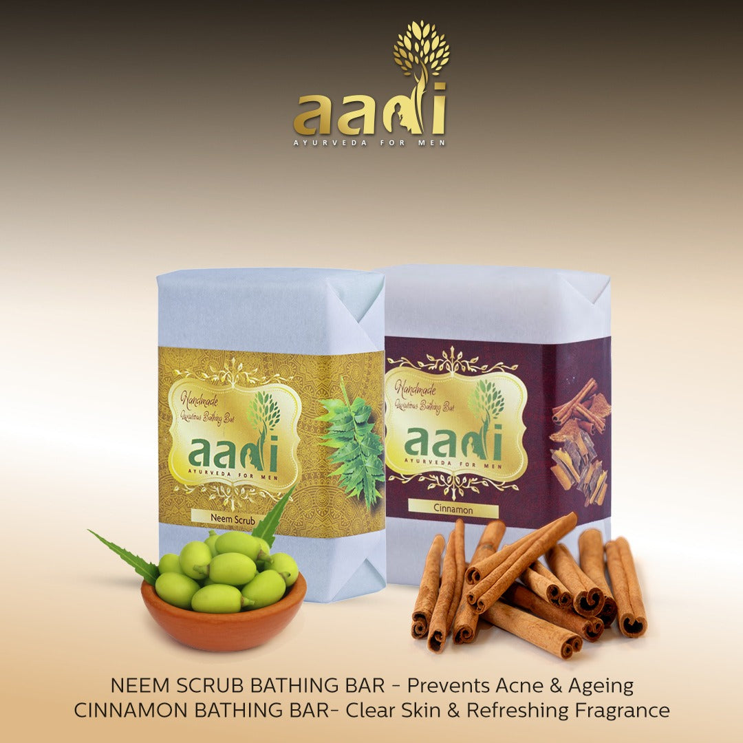AADI Cinnamon Luxurious Handmade Bathing Bar with the Finest Ayurvedic Ingredients (Pack of 2)