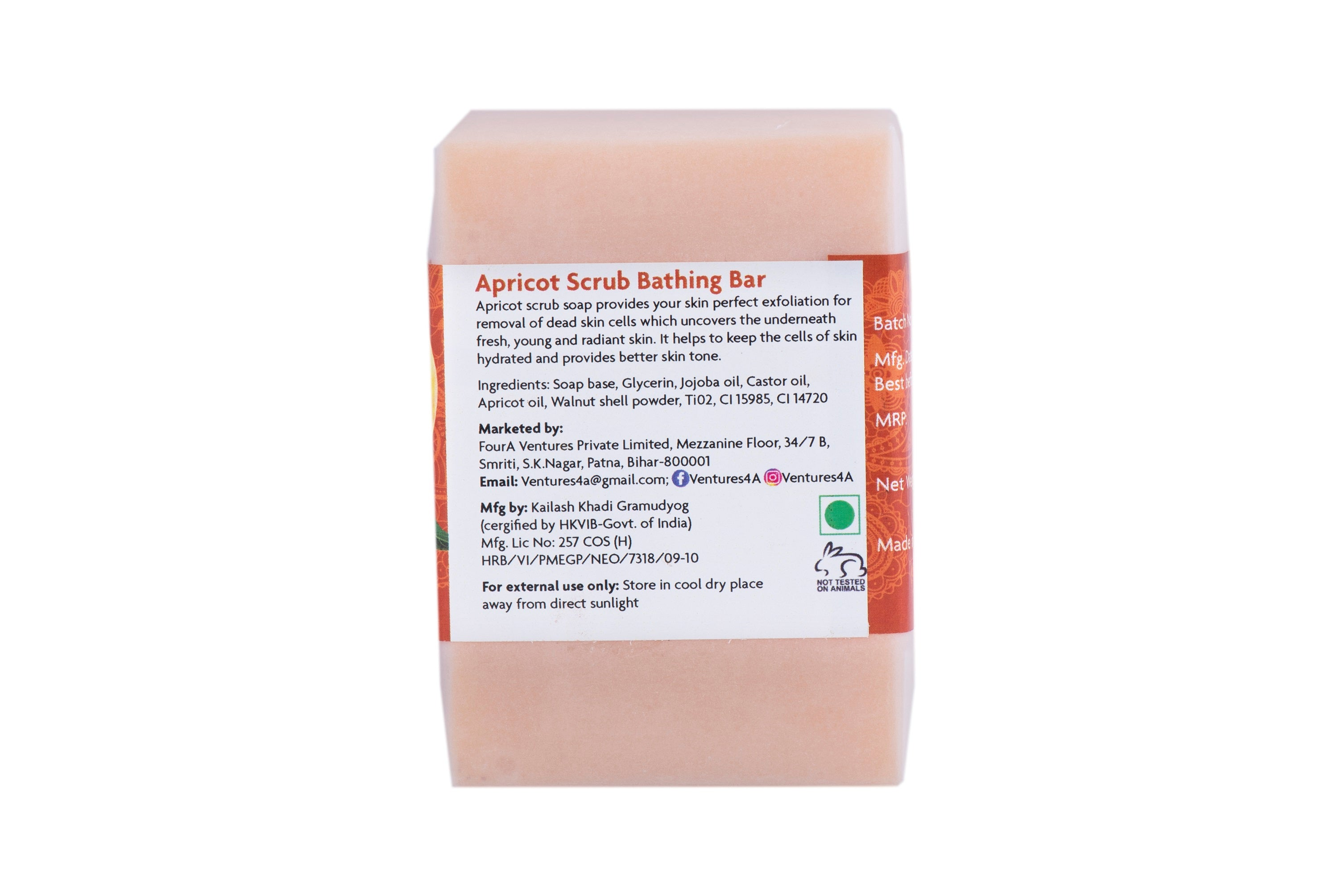 ANAYA Apricot Scrub Luxurious Handmade Bathing Bar with the Finest Ayurvedic Ingredients