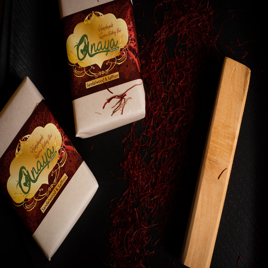 ANAYA Sandalwood & Saffron Luxurious Handmade Bathing Bar with The Finest Ayurvedic Ingredients