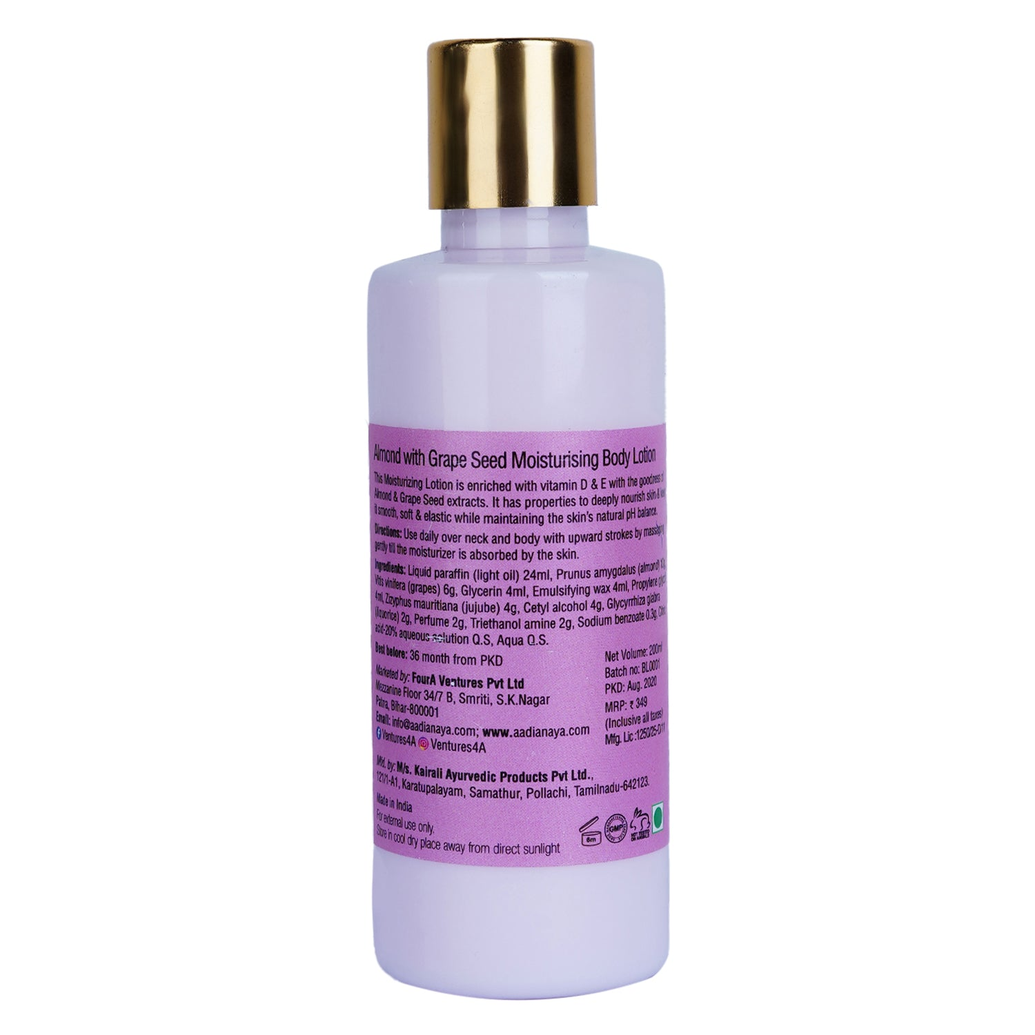 ANAYA Almond & Grape Seed Moisturising Body Lotion with the Finest Ayurvedic Ingredients (200 ml)