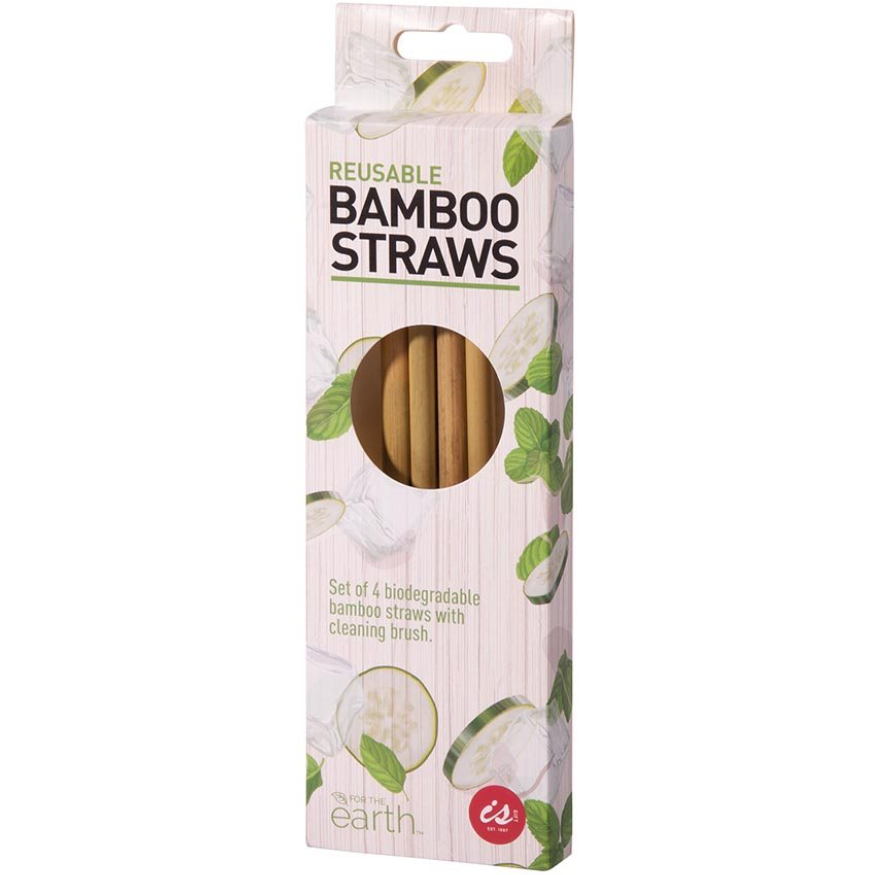 IS Gift Bamboo Reusable Straws - 4 Pack with Brush