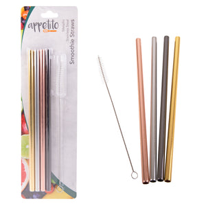 Appetito Metallic Stainless Steel Reusable Smoothie Straws Straight - 4 Pack