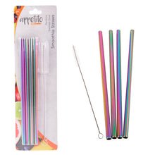 Load image into Gallery viewer, Appetito Rainbow Stainless Steel Reusable Smoothie Straws Straight - 4 Pack