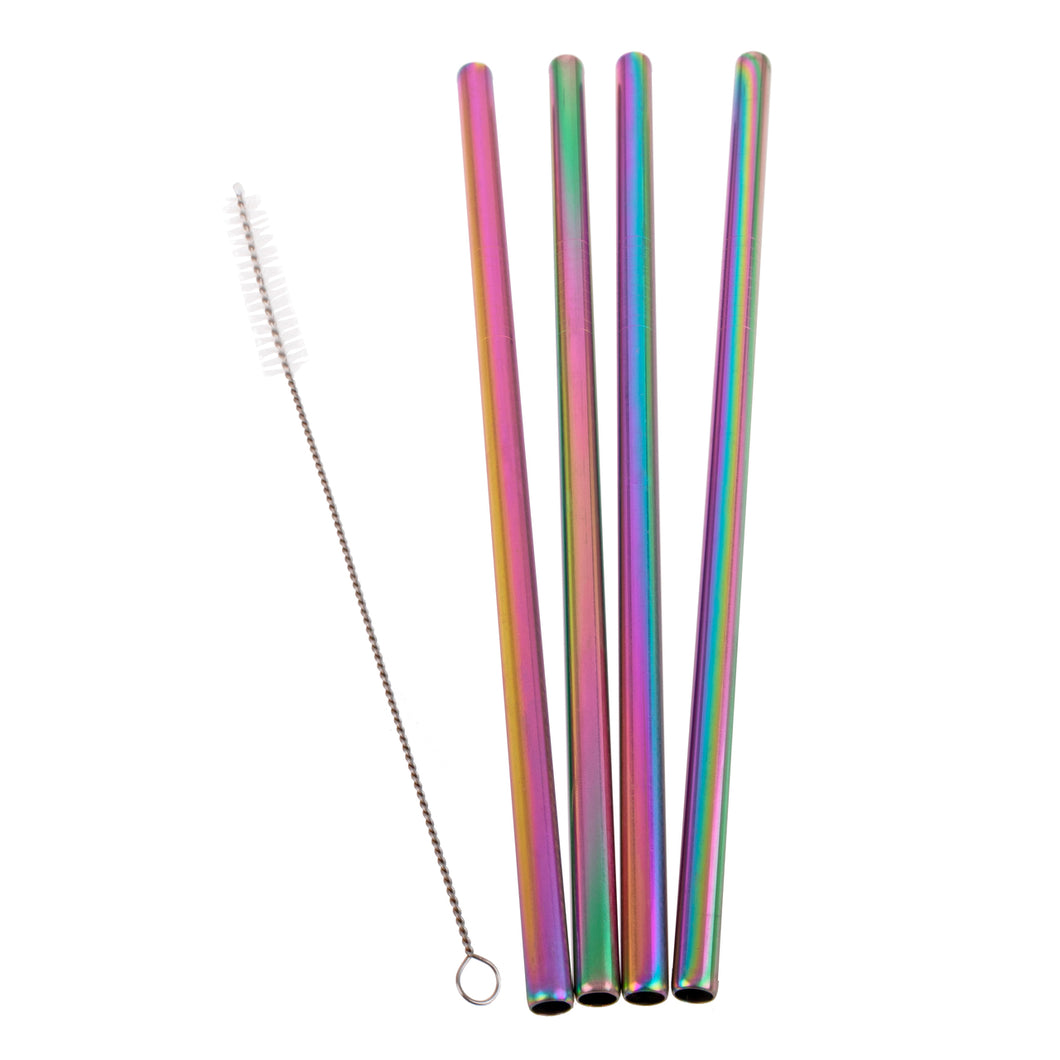 Appetito Rainbow Stainless Steel Reusable Smoothie Straws Straight - 4 Pack