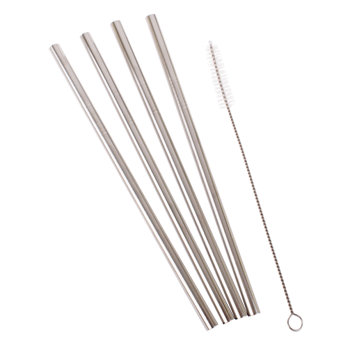 DLine Stainless Steel Reusable Straight Smoothie Straws (SINGLE)