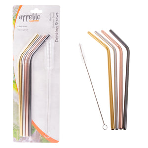 Appetito Metallic Stainless Steel Bent Reusable Straws - 4 Pack