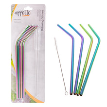Load image into Gallery viewer, Appetito Rainbow Stainless Steel Bent Reusable Straws - 4 Pack