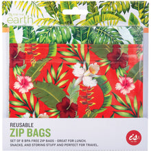 Load image into Gallery viewer, Tropical Reusable Zip Bags - 8 Pack