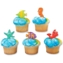 Load image into Gallery viewer, Sea Animal Food Picks / Cupcake Toppers - 5 Pack