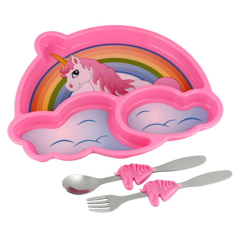 Funwares Unicorn Plate & Cutlery Set