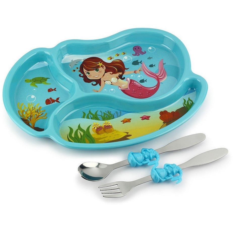 Funwares Mermaid Plate & Cutlery Set