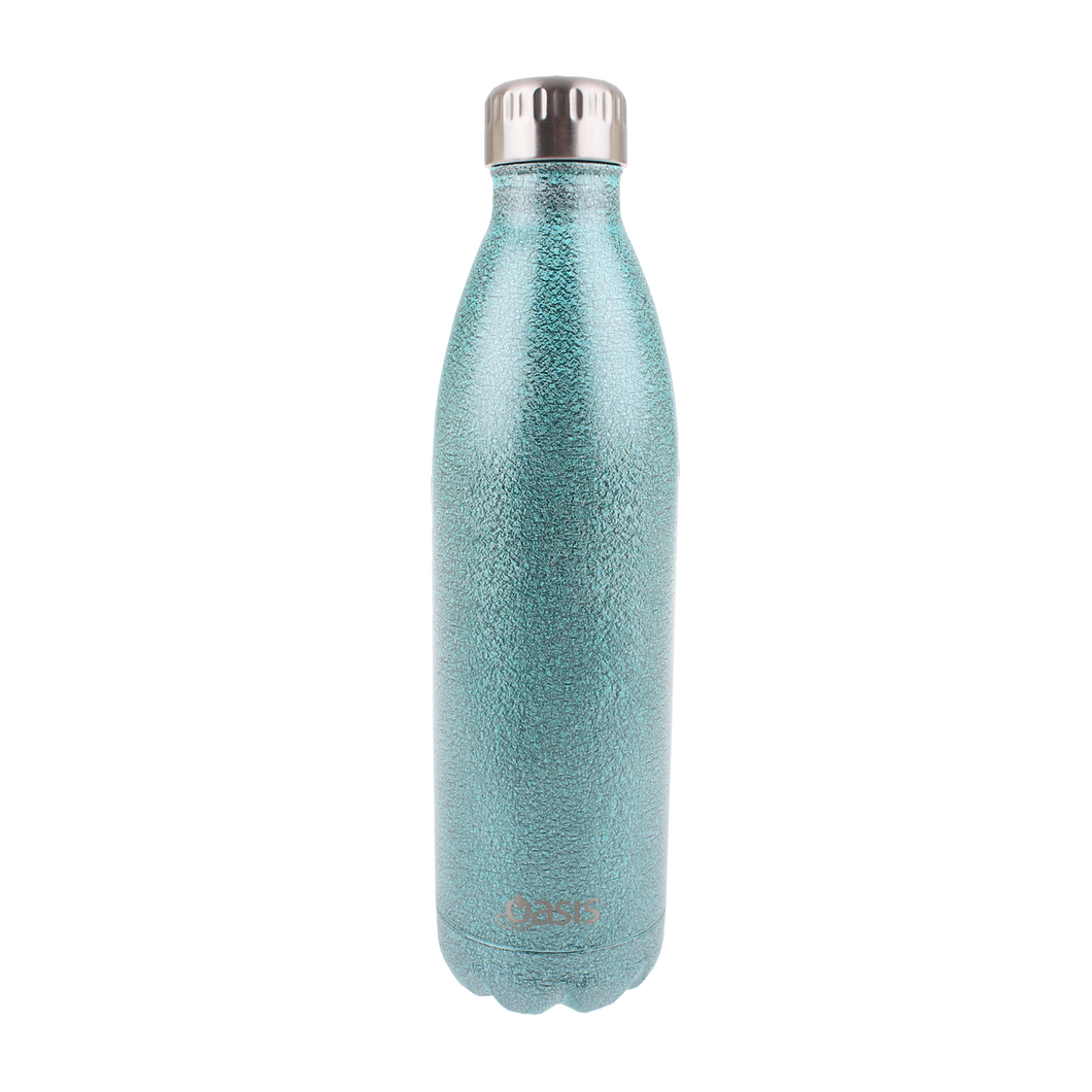 Oasis Glitter Stainless Steel Insulated Drink Bottle 750ml - Arctic Blue