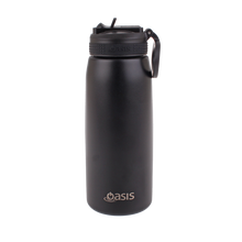 Load image into Gallery viewer, Oasis Sports Stainless Steel Insulated Drink Bottle with Straw 780ml - Black