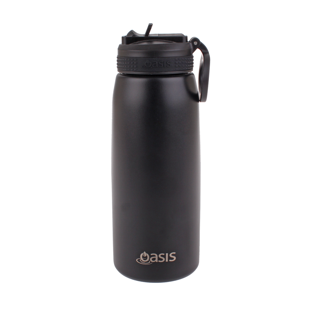 Oasis Sports Stainless Steel Insulated Drink Bottle with Straw 780ml - Black