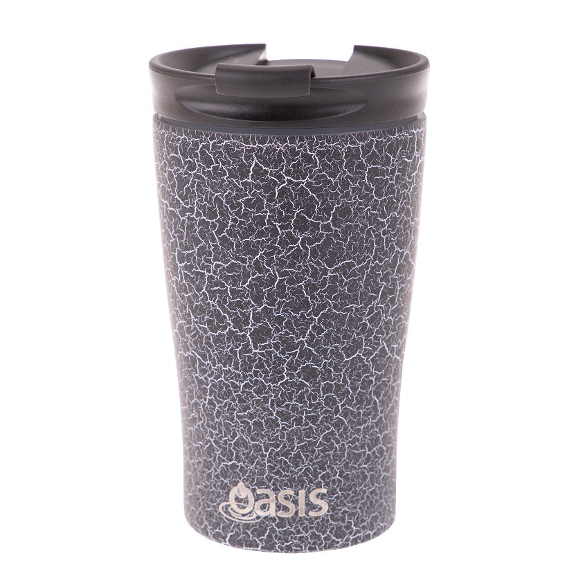 Oasis 350ml Stainless Steel Double Wall Insulated Travel Cup - Black Crack
