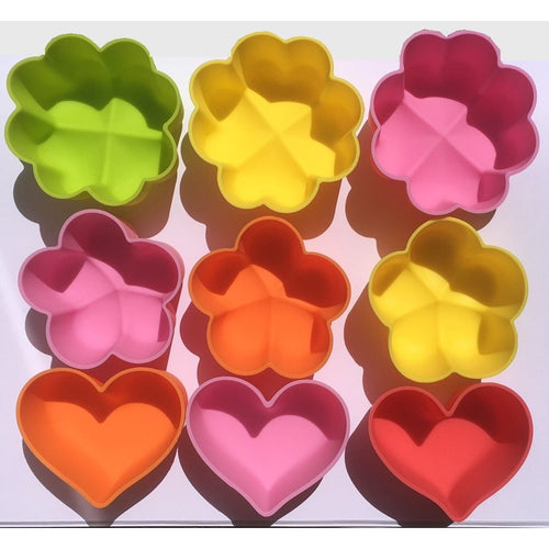Large & Medium Flower & Heart Silicone Cups (9 Pack)