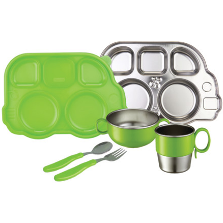 Stainless Steel Mealtime Set Green (7 Pieces)