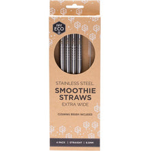 Load image into Gallery viewer, Ever Eco Stainless Steel Reusable Smoothie Straws Straight - 4 Pack with Brush