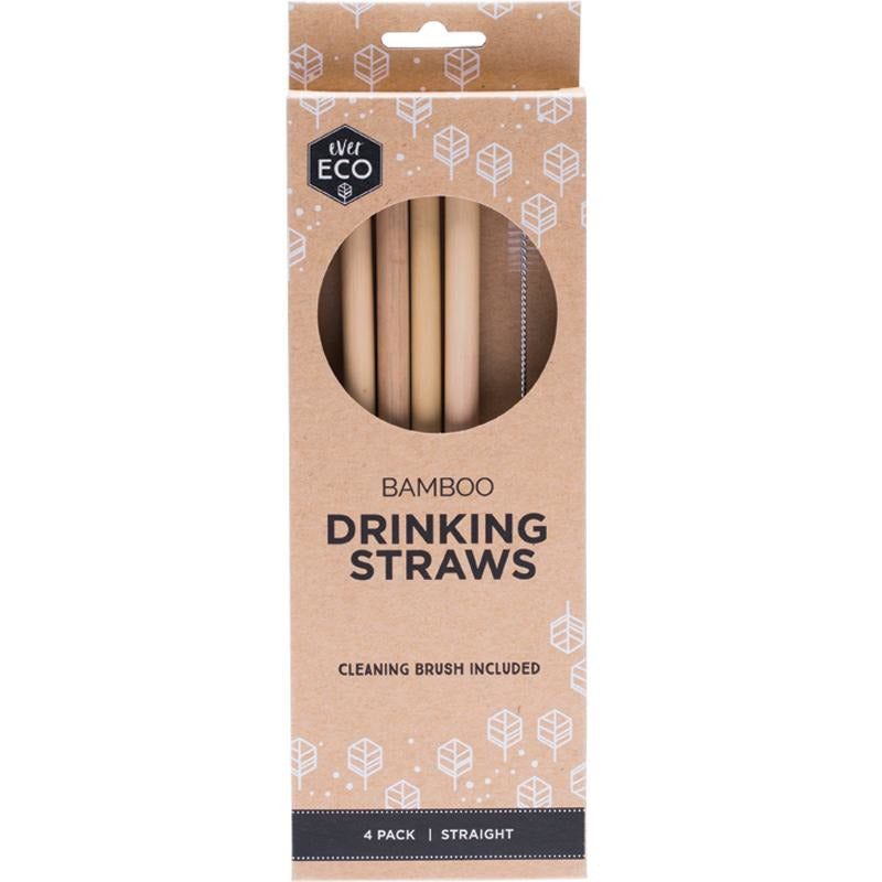 Ever Eco Bamboo Reusable Straws - 4 Pack with Brush