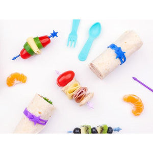 Lunch Punch Stix Long Food Picks - Purple Rainbow 4 Pack