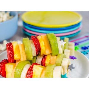 Lunch Punch Stix Long Food Picks - Green Rainbow 4 Pack