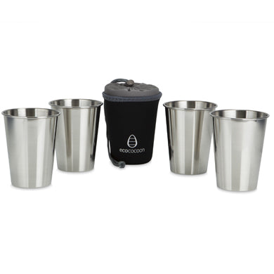 Ecococoon Stainless Steel Cup Set & Holder - Black