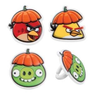 Angry Birds Food Ring / Cupcake Toppers - 3 Pack