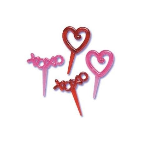 Hearts, Hugs & Kisses Food Picks / Cupcake Toppers - 4 Pack