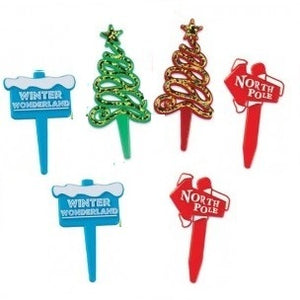 Christmas Food Picks / Cupcake Toppers - 6 Pack